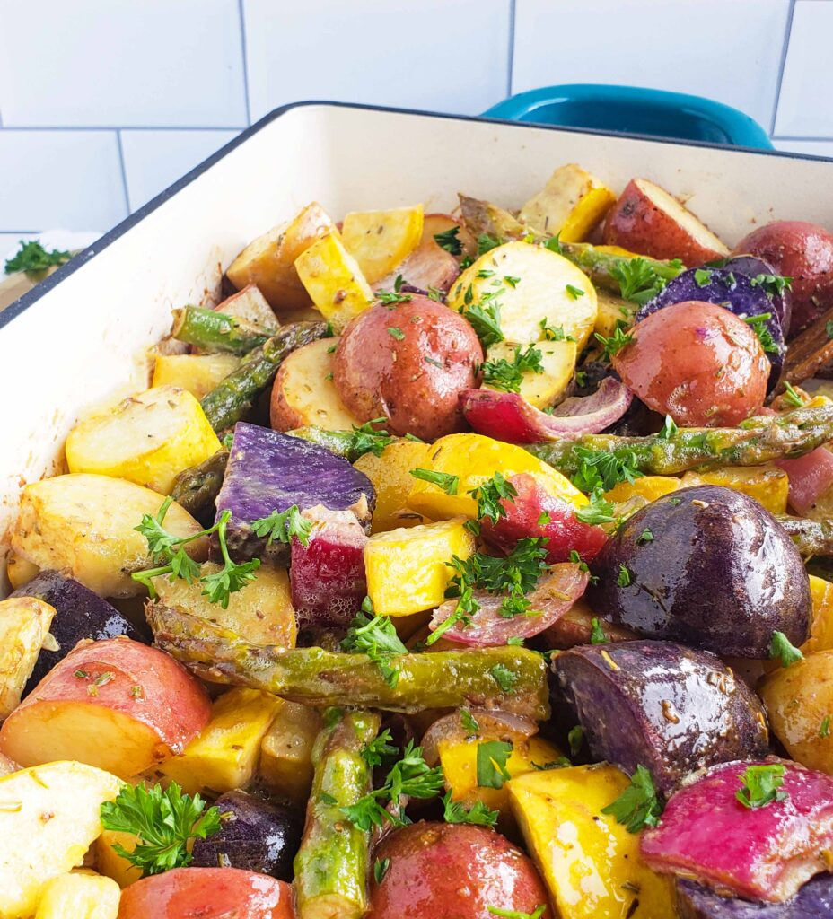 Rosemary Dijon Roasted Vegetables made with Sprouts Farmers Market dijon mustard and a colorful medley of potatoes
