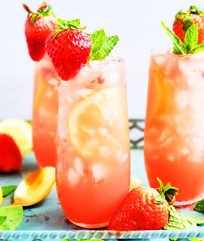 This simple strawberry mint gin & tonic cocktail is the perfect spring and summer refreshment! It's subtly sweet, tart, and earthy. It's a cocktail that everyone will surely enjoy. beautifuleatsandthings.com #cocktails #summer #strawberry #mint #gin #lemon