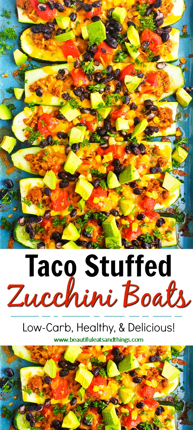 These Easy Cheesy Taco Stuffed Zucchini Boats are a great way to enjoy a healthy taco night and get in extra serving of vegetables at the same time! #tacotuesday #healthytacoideas #ketotacorecipes #ketorecipes #lowcarbtacos beautifuleatsandthings.com