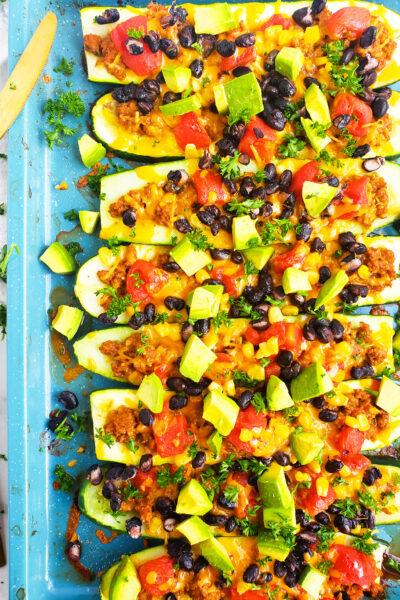 Easy Cheesy Taco Stuffed Zucchini Boats