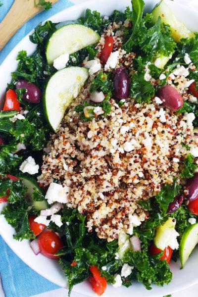 Massaged Kale & Quinoa Greek Salad