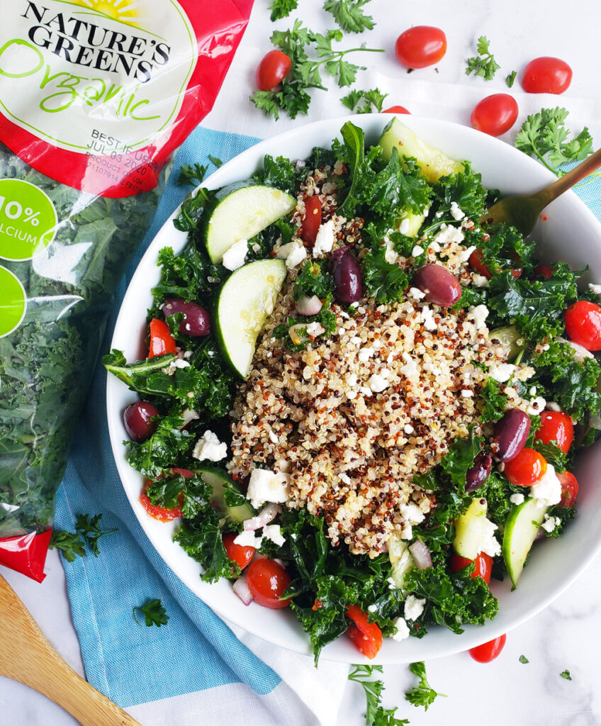 This hearty Massaged Kale & Quinoa Greek Salad is nutritious, delicious, and super easy to make. It's also ideal for meal planning. #kalesalad #kale #healthysalad #healthyrecipes beautifuleatsandthings.com