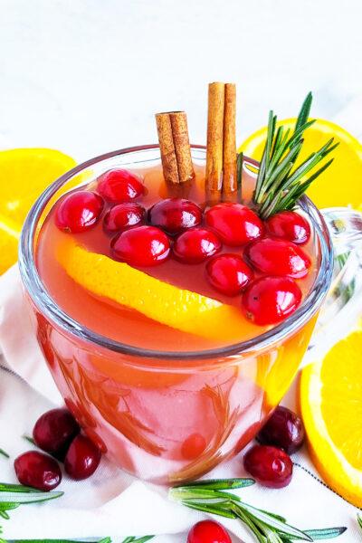Spiked Slow Cooker Cranberry Orange Apple Cider
