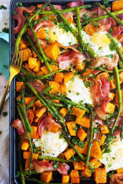 Sheet-Pan Eggs with Bacon, Asparagus & Sweet Potatoes