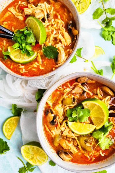 Spicy Slow Cooker Pad Thai Chicken & Ramen Soup