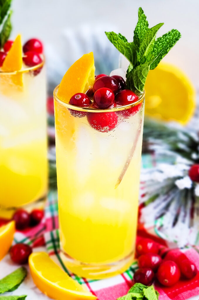 An amazing cocktail, Sparkling Orange Mint Cocktail, using Sunkist® Navel Oranges, garnished with fresh cranberries, mint, and orange wedges. beautifuleatsandthings.com