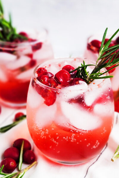 Sparkling Cranberry Lime Rosemary Mocktail