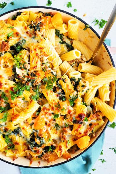 Garlicky Kale Sausage & Butternut Squash Pasta Bake