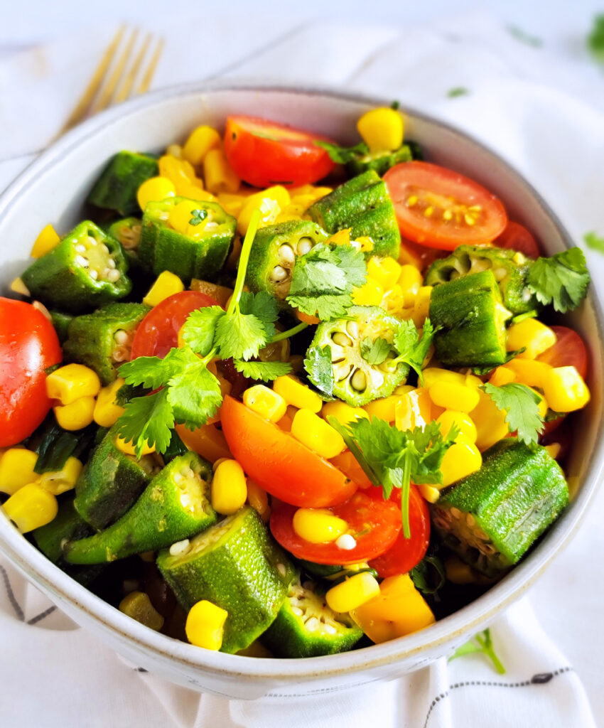 This Spicy Okra & Corn Salsa is truly a Southern favorite and full of okra, corn, tomatoes, bell peppers, and cilantro.  beautifuleatsandthings.com