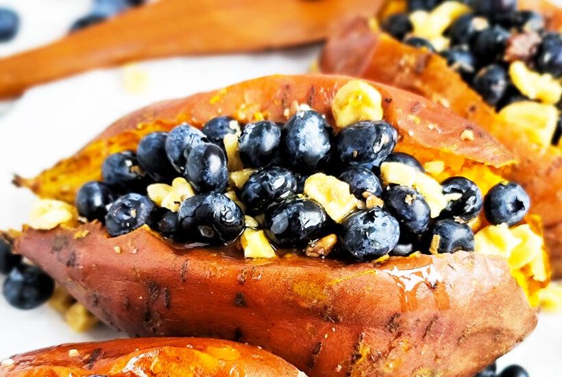Blueberry & Walnut Stuffed Sweet Potatoes made with baked sweet potatoes, fresh blueberries, walnuts, and honey. beautifuleatsandthings.com