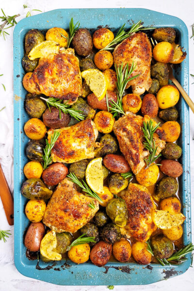 Lemony Rosemary Sheet Pan Chicken with Brussels Sprouts & Potatoes
