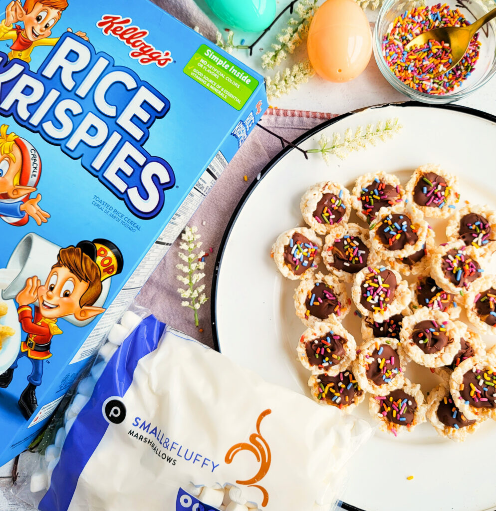 These Kellogg's Rice Krispies Chocolate Peanut Butter Cups are filled with peanut butter and chocolate in the center and topped with sprinkles. perfect treat for Easter!   beautifuleatsandthings.com
