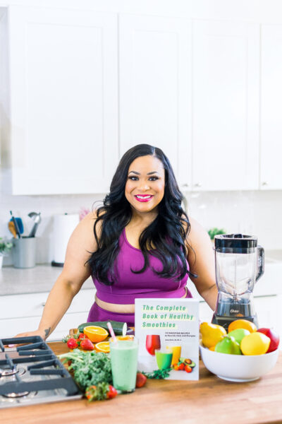 Body Positive Plus-Sized Black Registered Dietitian with her new book: The Complete Book of Healthy Smoothies. African American Registered Dietitian beautifuleatsandthings.com