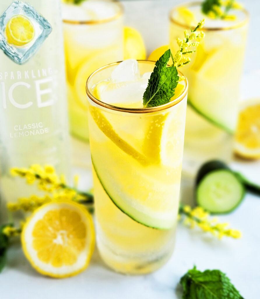 Sparkling Cucumber Mint Lemonade Cocktail