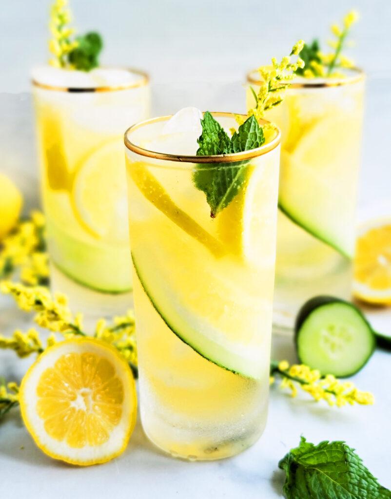 Sparkling Cucumber Mint Lemonade Mocktail  beautifuleatsandthings.com