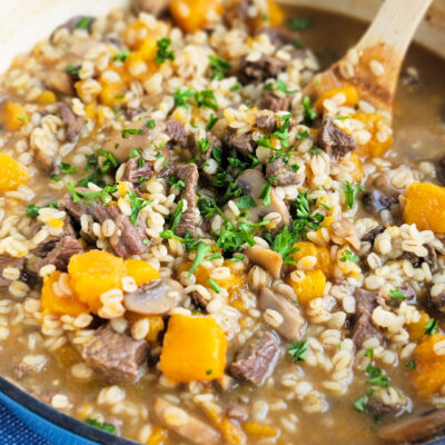 This Simple Beef & Barley Soup with Butternut Squash is the perfect recipe for Fall and can be made in the Crockpot or Instant Pot. beautifuleatsandthings.com