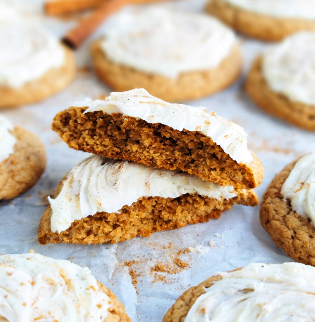 These 4-Ingredient Chewy Pumpkin Spice Cookies are made with box cake mix; only 4 ingredients. Topped with cream cheese frosting.  beautifuleatsandthings.com